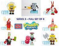 Mega Bloks Spongebob Series 3 Minifigures - Full Set Of 8 Inc Rare Brand