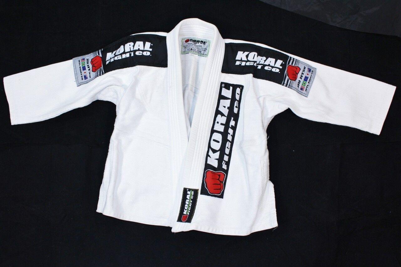 Koral Fight Co M1 Boys Youth White Karate Martial Arts Uniform GI Jiu Jitsu