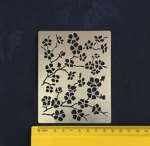Medium-Size-Metal-Stencil-Blossom-Flower-Stainless-Steel-Pyrography-Emboss