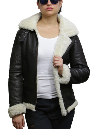 Genuine Jacket Leather Womens Brown Sheepskin Pilot Shearling Brandslock Hooded cream ZxwEUqEO