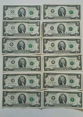 """12 note $2 Two Dollar Bills /""""A-L/"""" ALL 12 Districts Comple set GOOD condition W01"""