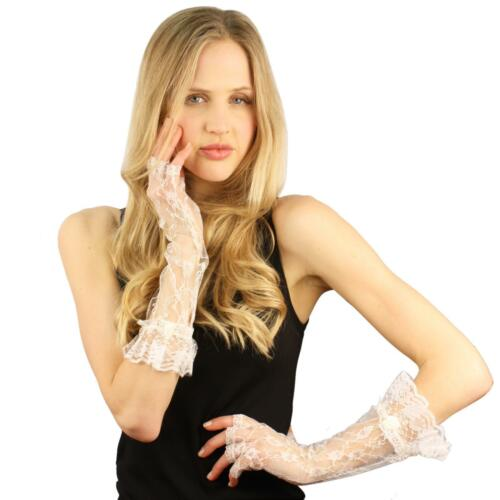 Floral Gauntlet Half Fingerless Lace Ruffle Rose Cuff Elbow Dressy Gloves White