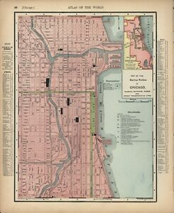 Details about VINTAGE CITY STREET MAP: CHICAGO - RAND MCNALLY + ILLINOIS on 1880 chicago map, magnificent mile map, downtown chicago map, chicago walking map, city of chicago map, chicago zip code map, chicago cemetery map, chicago highway map, chicago illinois map, logan park chicago map, south side chicago map, chicago district map, chicago sightseeing map, chicago on a map, 4th ward chicago map, chicago loop map, chicago suburbs map, chicago block map, chicago house number map, chicago harbour map,