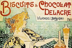 Biscuits & Chocolat Vintage French Nouveau France Poster Print Art Advertisement