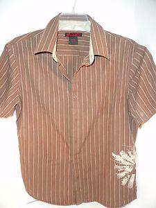 Tony-Hawk-Skateboard-Shirt-Hip-Brown-Stripes-GUC-SS-Large-Cotton-Blend