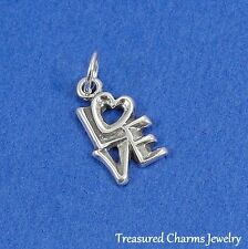 .925 Sterling Silver LOVE WORDS CHARM Heart Romantic PENDANT