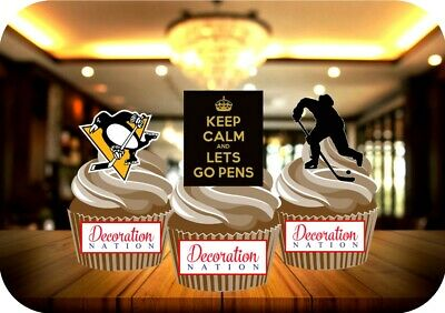 Ice Hockey Pittsburgh Penguins Trio Mix Stand Up Premium Card Cake Toppers