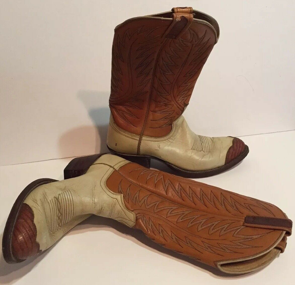 Vintage Dan Post Womens Cowboy Boots Size 7.5 D White Tan