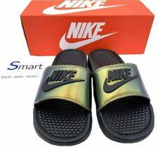nike slippers green and black