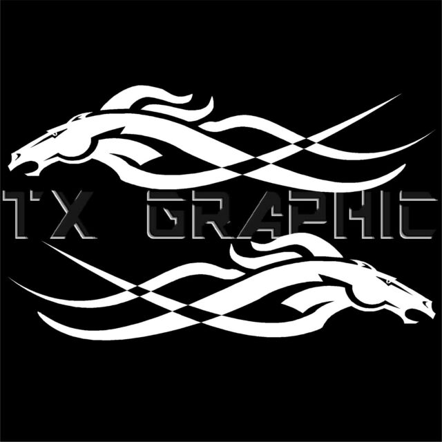HORSE BRONCO VEHICLE GRAPHIC DECAL TRIBAL STICKER   1 SET OF 2