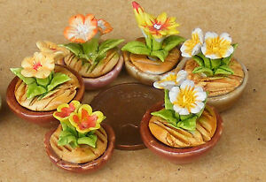 1-12-Scale-Small-Mixed-Ceramic-Flower-In-A-Pot-Doll-House-Miniatures-Garden