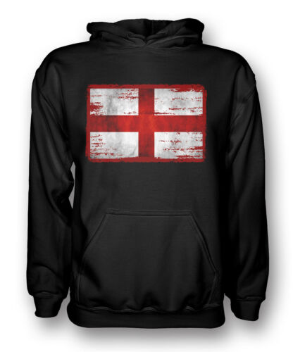 Inghilterra Bandiera Grunge-Felpa con cappuccio da uomo