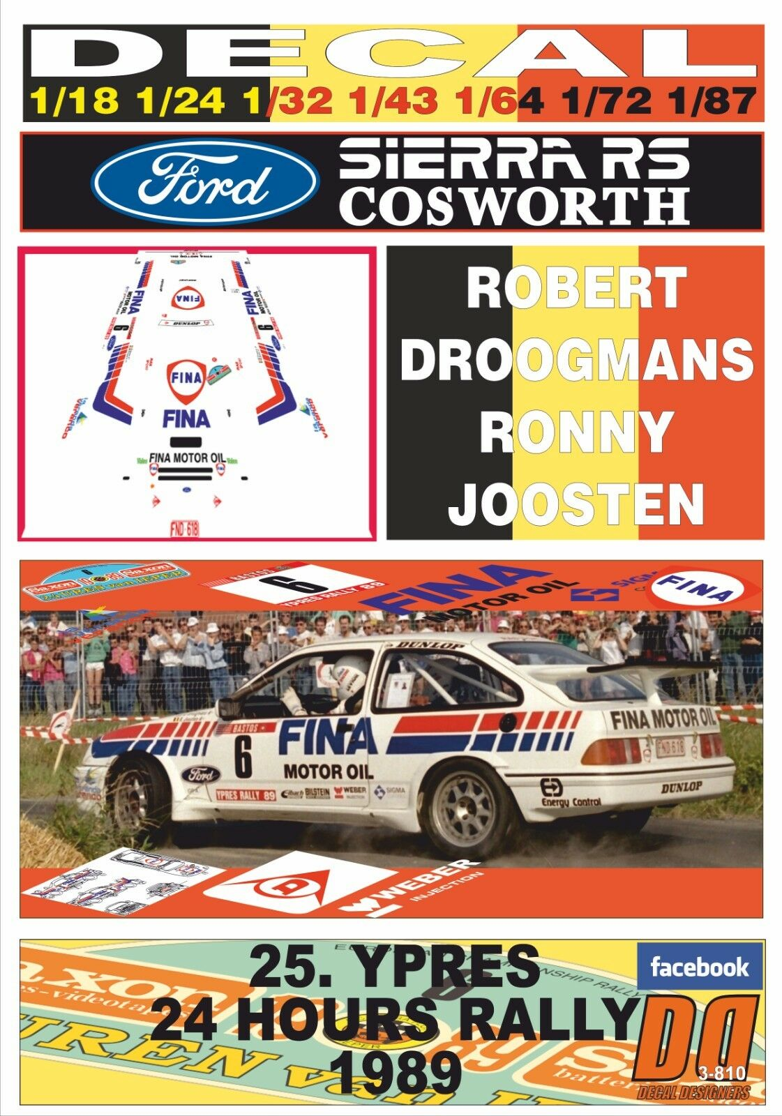 DECAL FORD SIERRA RS COSWORTH R.DROOGMANS YPRES 24 HOURS R. 1989 WINNER (08)