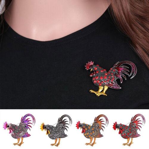 Unisex Unique Cock Animal Pin Rhinestone Brooch Retro Jewelry Gift CB