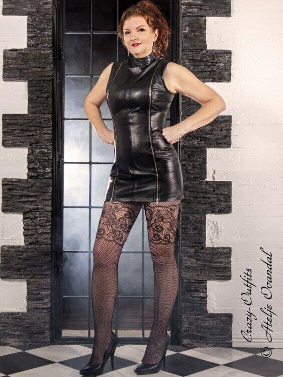 Lederkleid Leder Kleid  Vanessa  Schwarz Mini Zipper Maßanfertigung