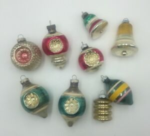 9-Vtg-Shiny-Brite-Mercury-Glass-Indent-Bumpy-Bell-Christmas-Lantern-Ornament-Lot