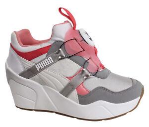 Puma DISCHETTI zeppa costiera da donna bianco grigio scarpe ginnastica rosa
