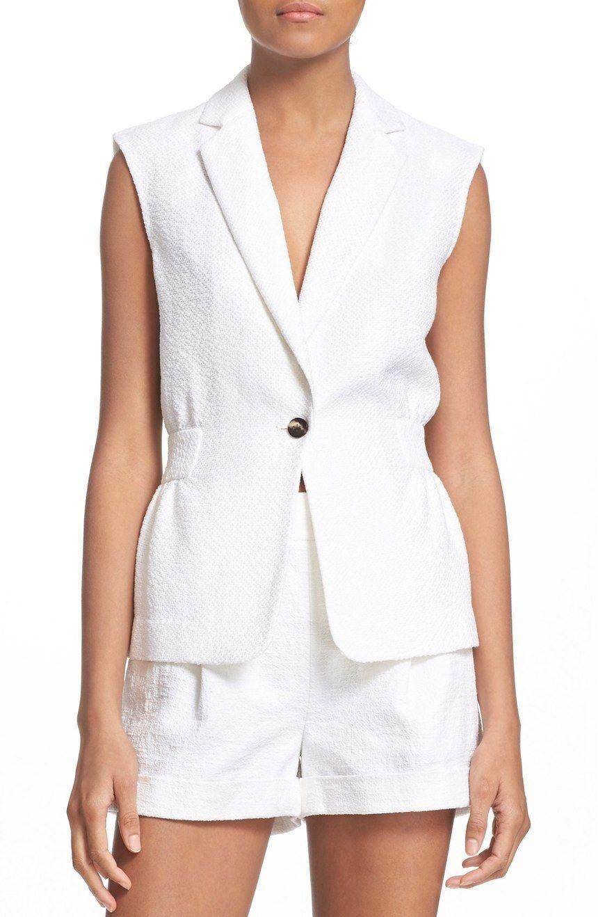 Herregud DVF Diane von Furstenberg Gavyn Slieveless Cotton Blazer Vest NWT 2 vit