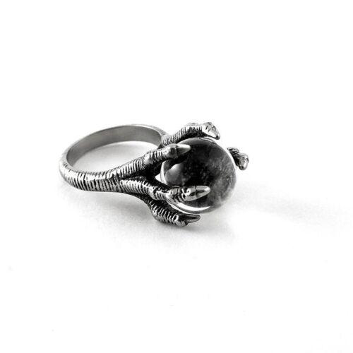 Ring Killstar Dragon Claw Quartz Crystal Ball Bague Cristal Dark Gothic Gothique