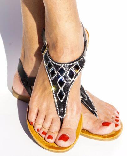 Women/'s Flat Y-Strap Sandal Flip Flop Thong Open Toe Rhombus Rhinestone