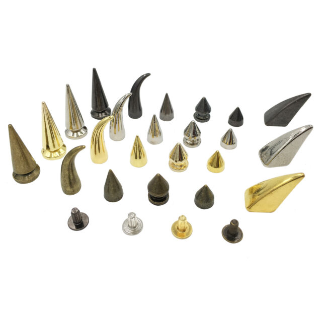10pcs 7x40mm Gold Screwback Spikes Cone Studs Punk Rock Leathercraft Rivet