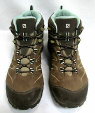 Salomon Trail Hiking Women's Shoes Athletic Size 9 Brown with Blue Inside