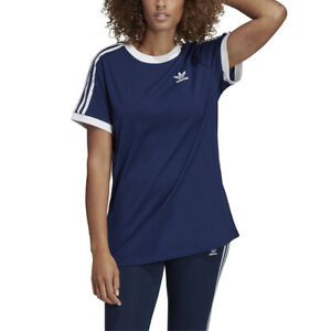22af58f1f4 New Women's Adidas Originals 3-Stripes Tee Shirt [DV2592] Blue ...