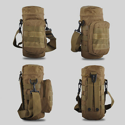 TAN/Khaki Water Bottle Pouch Bag Molle With Small Mess Pouch Case Tactical Belt