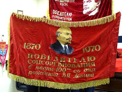 Soviet RUSSIAN silk FLAG BANNER LENIN communist PROPAGANDA CCCP USSR