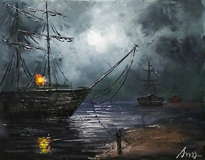 Art-Abstract-100-Hand-painted-Oil-Painting-RAINY-SEASCAPE-16-20inch-Decoration