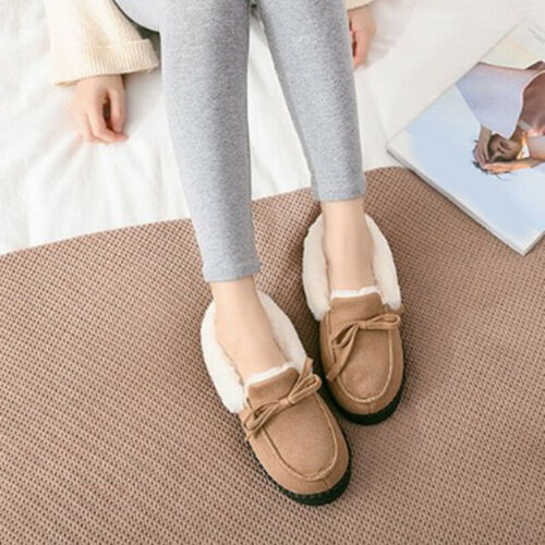 Women Casual Thicken Warm Non-slip Moccasin Slippers Indoor Outdoor Home Wear
