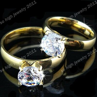 Hot Sale Men's Women's Stainless Steel AAA CZ Gold Wedding Engagement Ring New