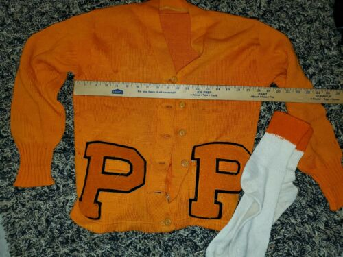 Vintage 30s double Orange Letterman Sweater P