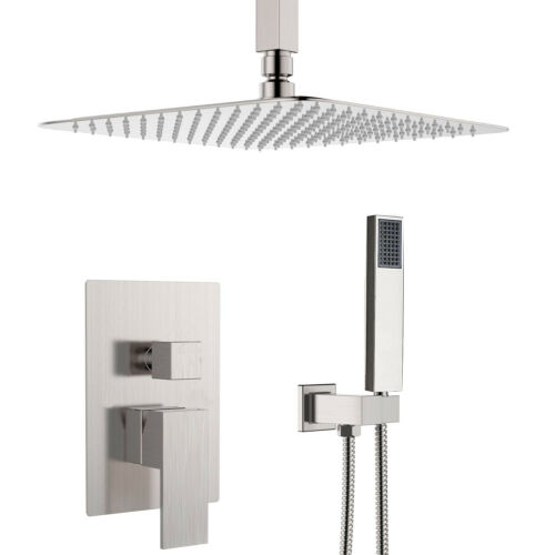 """Shower System Set 16/""""Rainfall Shower Head with Handheld Shower Mixer Tap Brushed"""