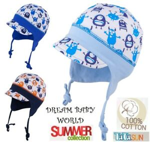 5d8b1921e99 Monster 100% Cotton TIE UP BOYS hat Spring Summer BABY BOY KIDS 0 ...
