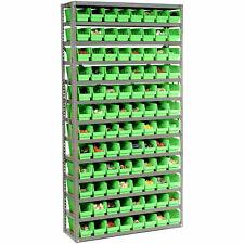 New Listing13 Shelf Steel Shelving With 96 4h Plastic Shelf Bins Green 36x12x72