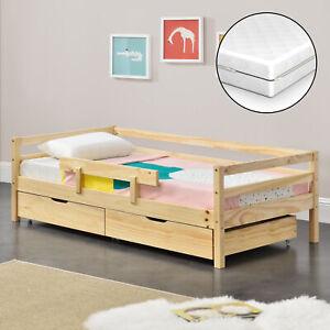 Kinderbett mit Matratze 80x160cm Juniorbett Rausfallschutz Bettkasten Bett Holz