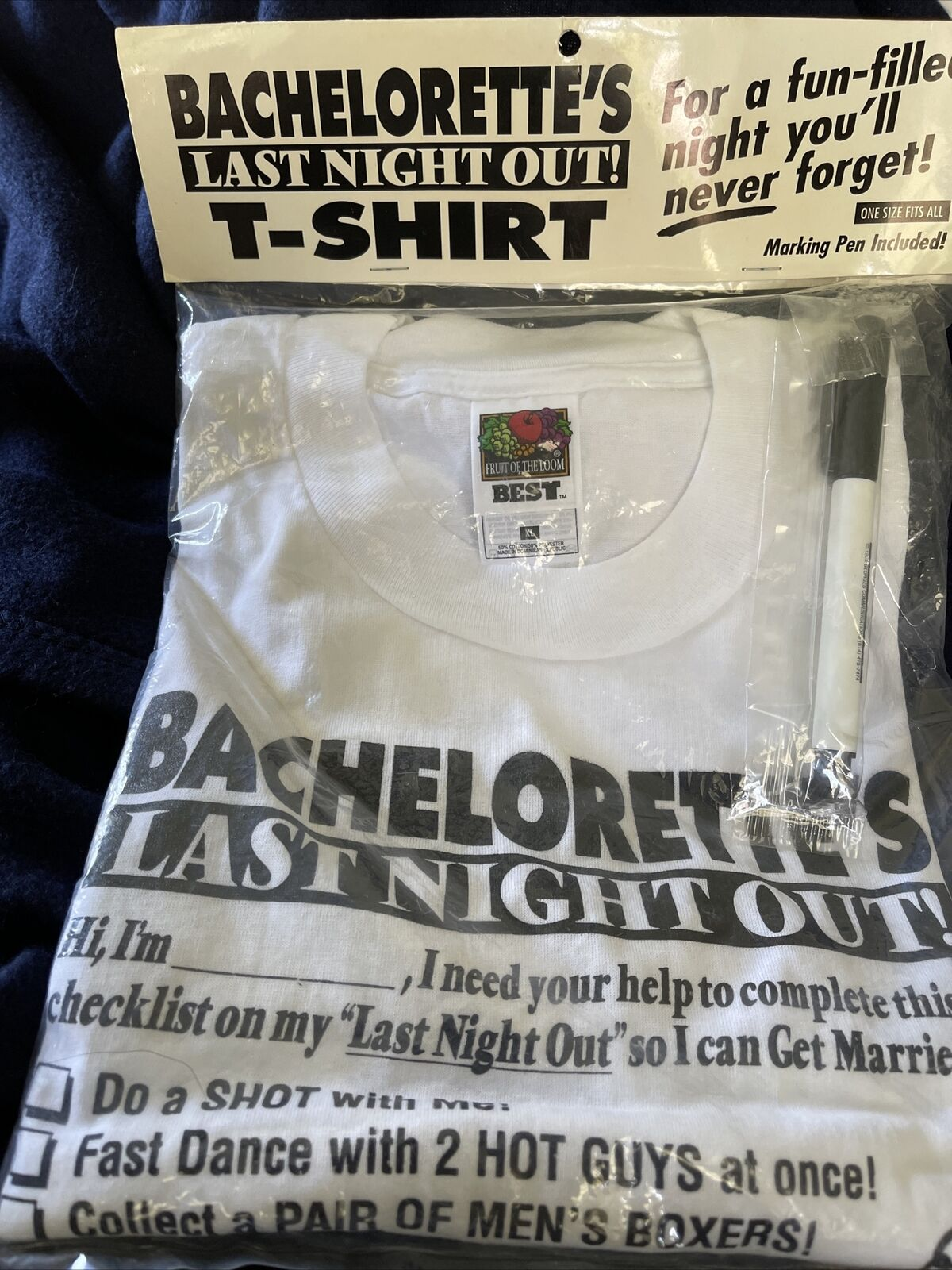 Wedding-Bachelorette's Last Night Out T Shirt with Marking Pen Vintage 1998 New