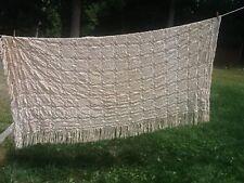 "Vintage Hand Crochet Bedspread Antique Ivory Ecru Spread Coverlet ESTATE 84x96"""