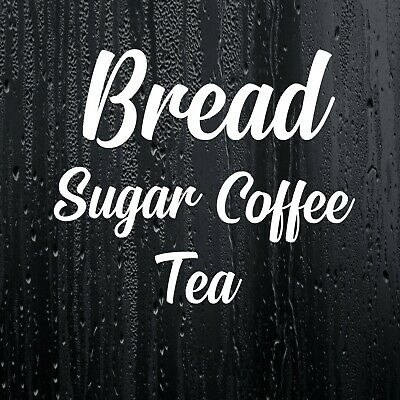 Set of 4 Kitchen Labels Decal Vinyl Stickers Tea Coffee Sugar Bread Jar Bin