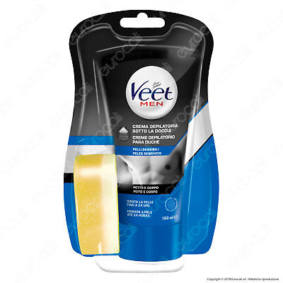 Veet For Men Crema Depilatoria Sotto la Doccia per Uomo Pelli Sensibili - 150 ml