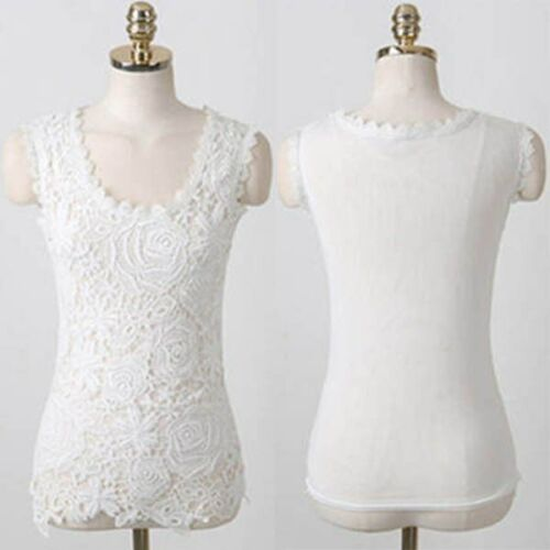 CASUAL Sleeveless Lace Blouse Top White Black Plus Size GIRLS AGE 9 10 12 13 14