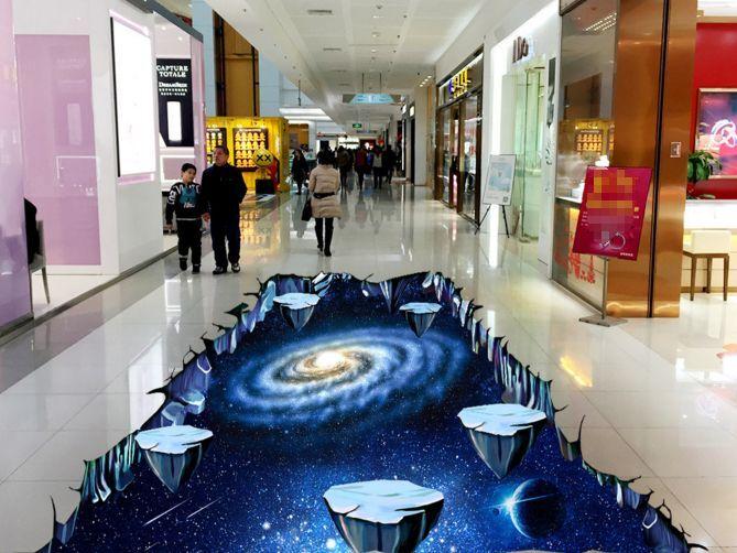 3D universo cave blue Pavimento Foto Wallpaper Murales Muro Stampa Decalcomania
