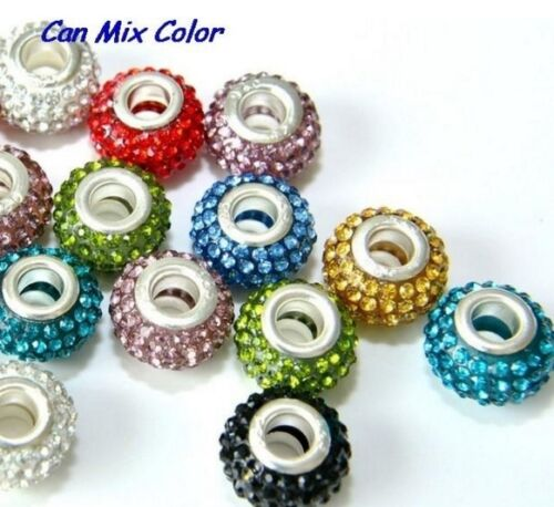 50pcs//lot 12*14mm mixed Crystal Rondelle silver Plated Big Hole European Bead