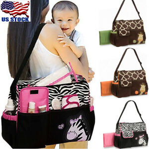 da4f2e49f0138f Image is loading Womens-Cartoon-Animals-Diaper-Bag-Mommy-Backpack-Crossbody-