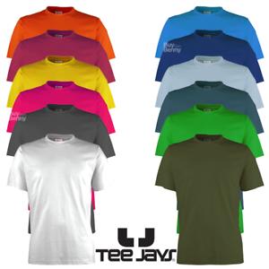Tee-Jays-para-hombre-Camiseta-100-algodon-suave-peso-pesado-LLANO-TEE-Colores-Superior-S-5XL