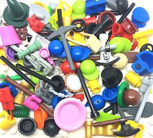 Lego 50 Figurine Accessoires Pièces Pièces Armes Outils Chapeaux-plus De 400 Vendus-afficher Le Titre D'origine