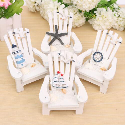 Mini Fairy Wooden Chair Dollhouse Garden Home Sea Beach Bar Decor Ornament-Z0BA
