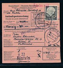 90160) Auslands - Postanweisung Heuss, EF 50PF Rinteln - Wien, Benachr.-L1