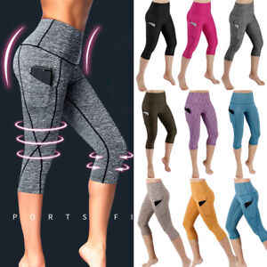 fd196af7540db Womens High Waist Yoga Capri Pants Cropped Pocket Fitness Sports Gym ...
